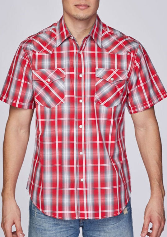 Men's Red and Grey SS Shirt