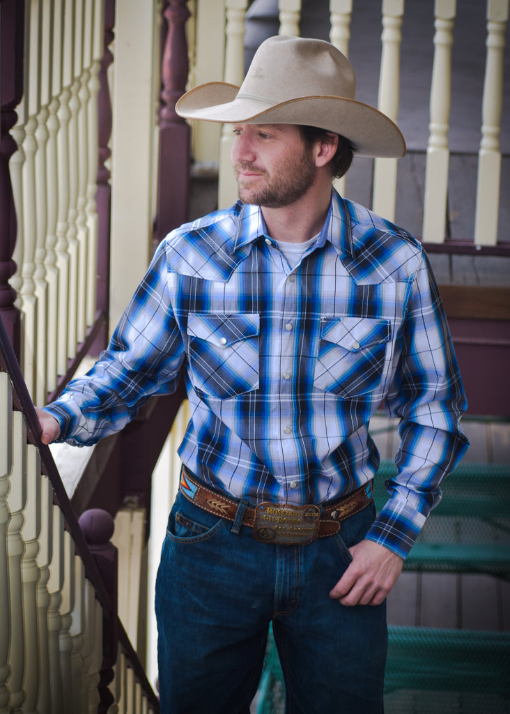 Men's Blue and Black Plaid Snap Shirt