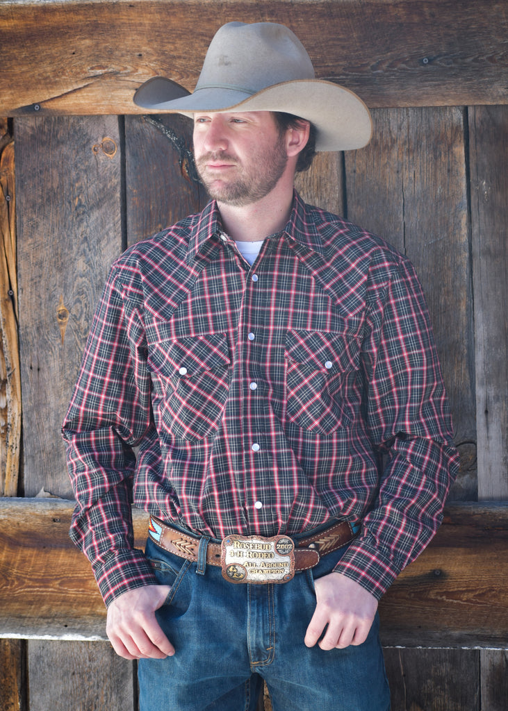 Men's Red and Black Plaid Snap Shirt