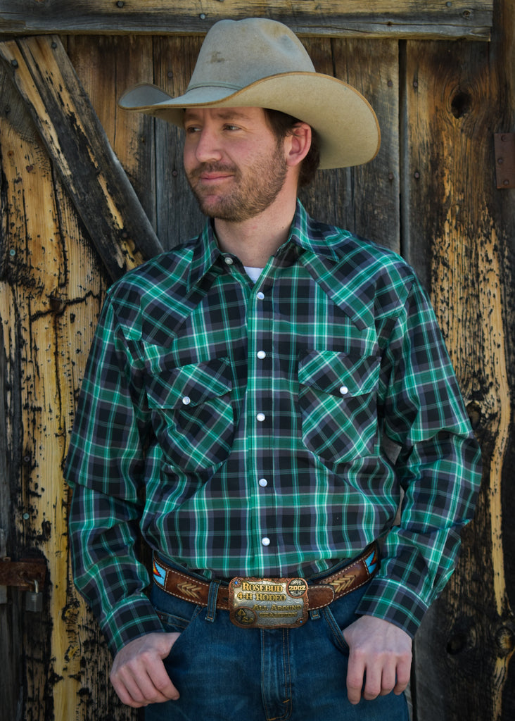 Men's Green and Black Plaid Snap Shirt