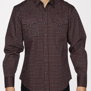 Men's Black and Red Snap Shirt