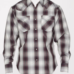 Boy's Purple and Grey Plaid Snap Shirt