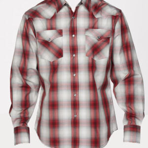 Boy's Red and White Plaid Snap Shirt