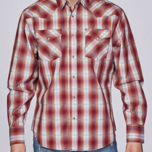 Men's Rust Plaid Snap Shirt
