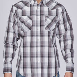Men's Black and Grey Plaid Snap Shirt
