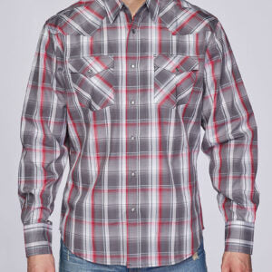 Men's Red and Grey Plaid Snap Shirt