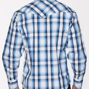 Men's White and Blue Plaid Snap Shirt