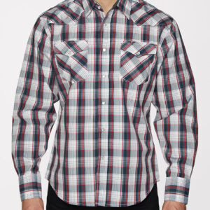 Men's Red and Blue Plaid Snap Shirt