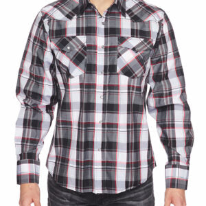 Men's Black and Red Plaid Snap Shirt