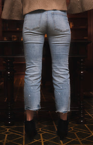 Splatter Bottom Crop Jeans