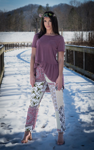 Boho Mixed Print Ankle Pants