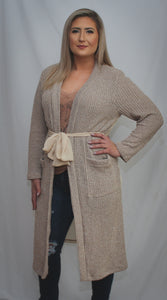 Chiffon Panel Knit Duster