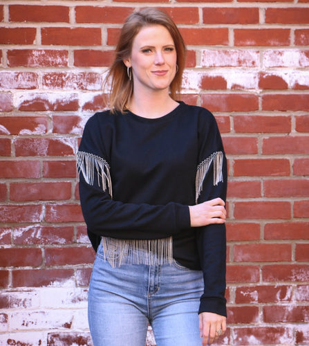 A Little Bit Metal Fringe Sweatshirt
