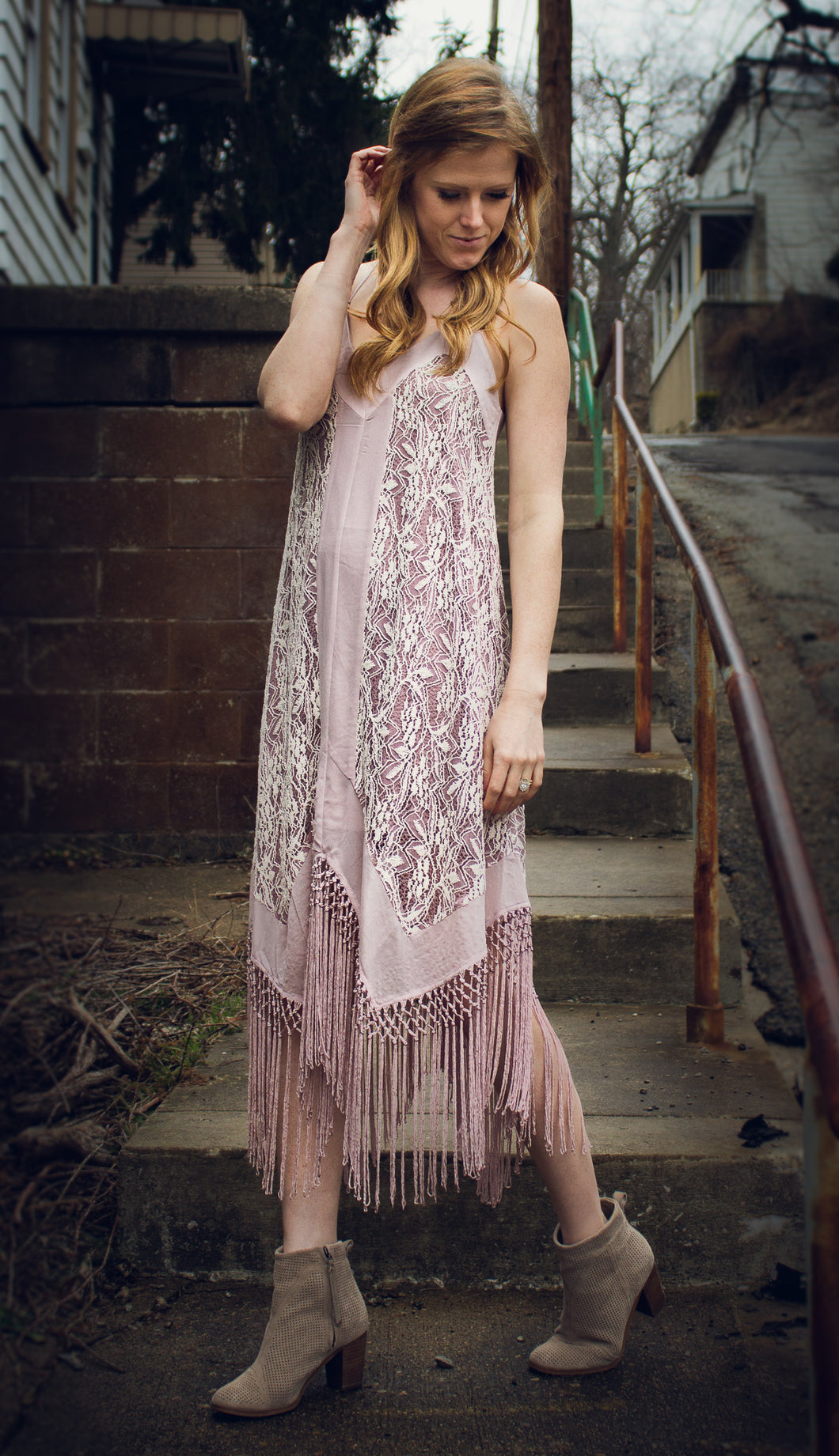 Boho Babe Crochet Lace & Fringe Dress