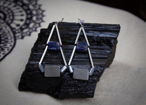 Sodalite Geometric Earrings