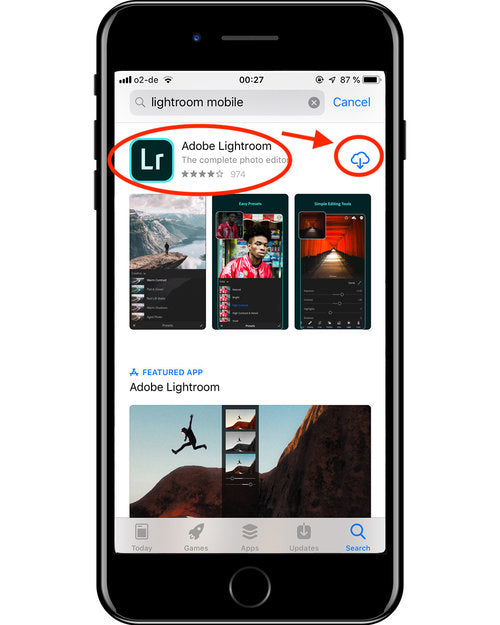 How to download Lightroom Mobile from the App Store