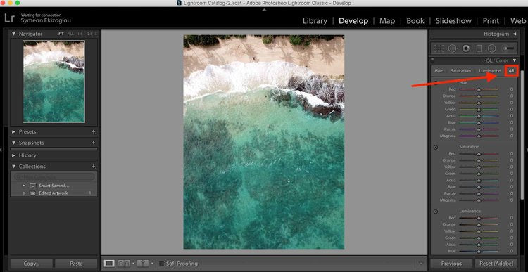 How to edit blue water color in Lightroom
