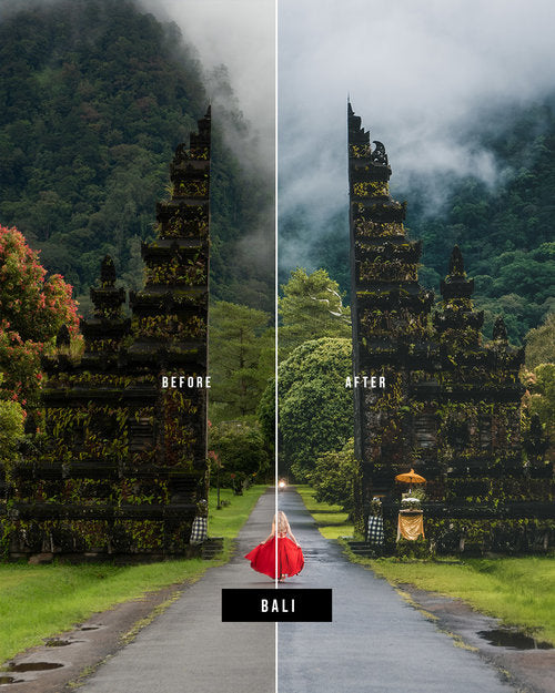 Lightroom Before and after photo using preset Bali
