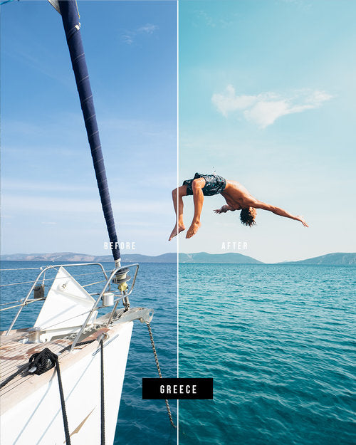 Lightroom Before and after photo using preset Greece