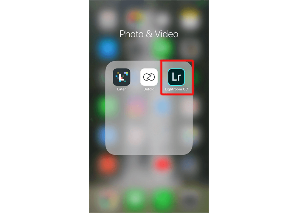 Step-by-step open the Lightroom app on your phone