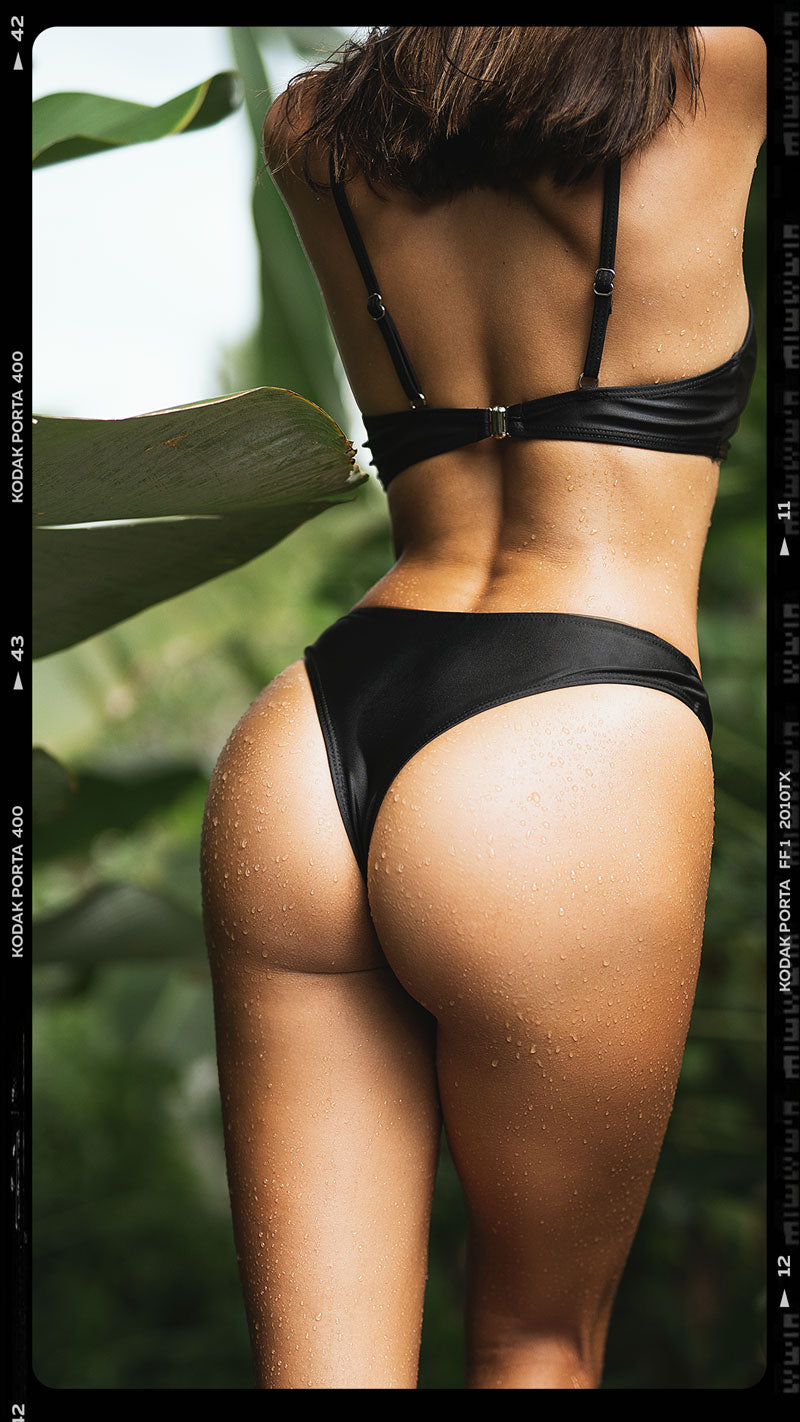 close up of black bikini bottom from behind