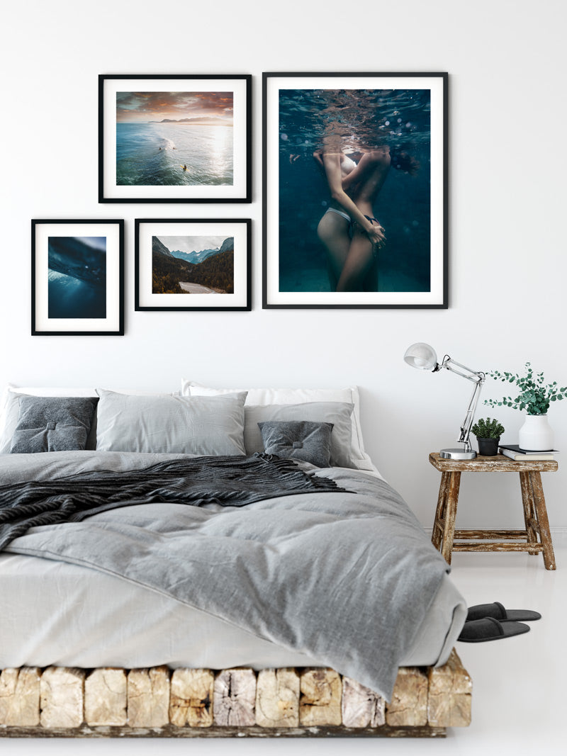 Women embracing under water print