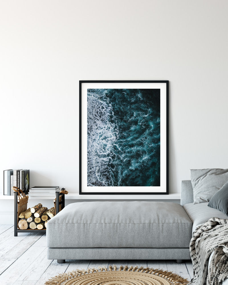 photo print of ocean drone shot