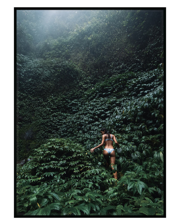 photographic print of woman in jungle