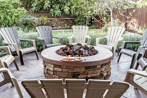Chairs round a fire pit
