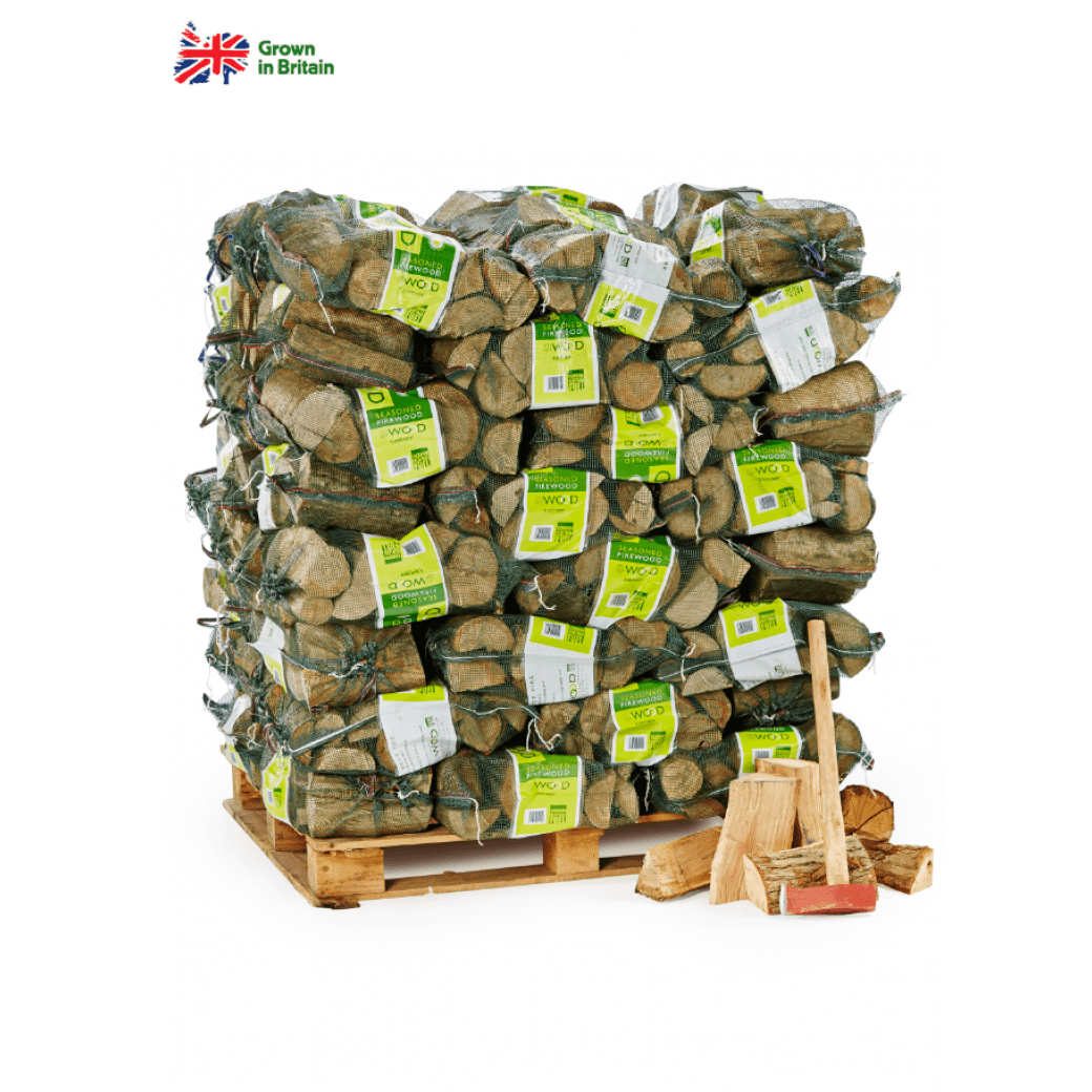 Bags of seasoned logs on pallet