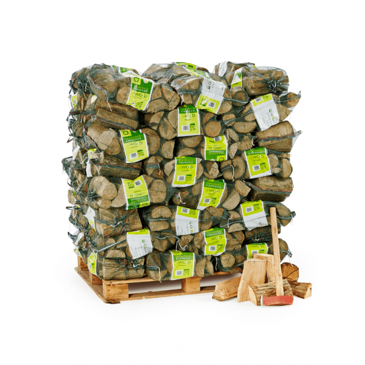 80 bags of seasoned logs on a pallet