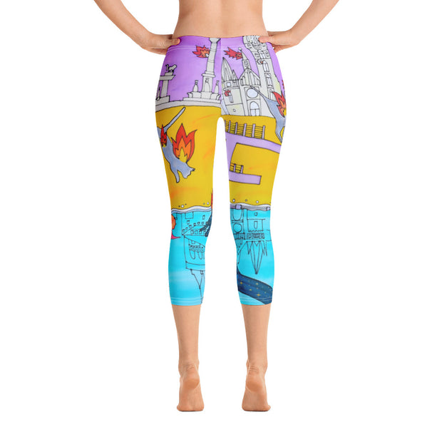 Vivid and bold leggings - colorful and striking summer clothes by Somejam - I don't stop for an ice cream if the house on fire - Capri Legging
