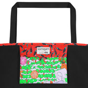 Vivid unique beach bag - colorful and flashy beachwear by Somejam - Black is beautiful - Beach Bag