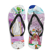 Colorful unique flip-flops - vivid and bold beachwear by Somejam - Show me your sorrow - Flip-Flops