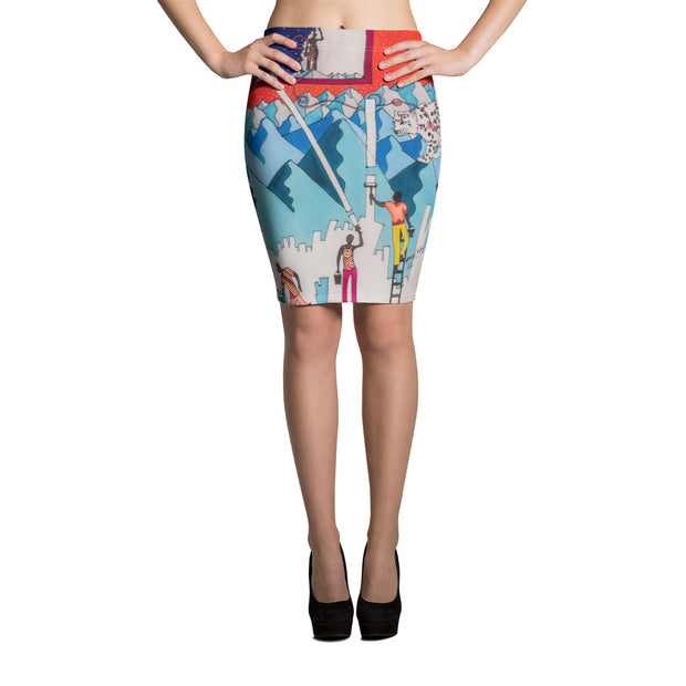 Colorful unique pencil skirt - vivid and garish summer clothes by Somejam - For the pleasure of the snow leopard - Pencil Skirt