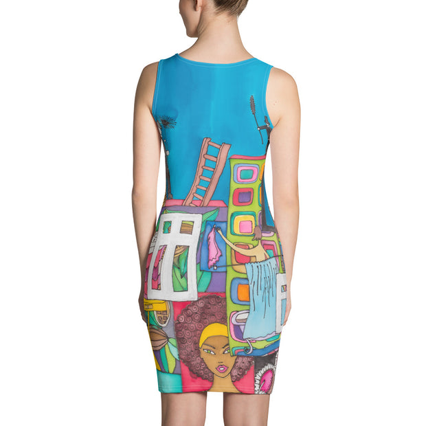 Colorful tight Summer Dress - vivid and garish summer clothes by Somejam - Smoke from my chimneys in the middle of the summer - Strait Dress