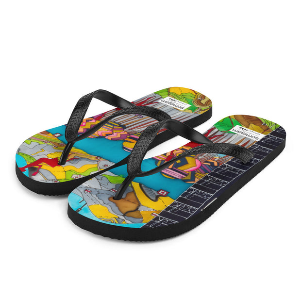 Colorful unique flip-flops - vivid and bold beachwear by Somejam - My chair is beyond the margins - Flip-Flops