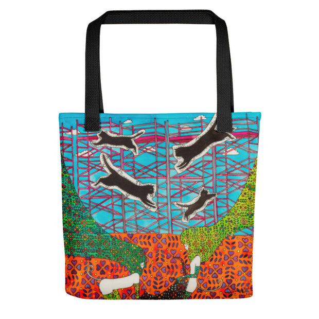 She builds scaffolding in front of nothing - Tote bag