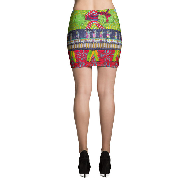 Colorful striking mini skirt - vivid and garish summer clothes by Somejam - Asimmetry in Simmetry - Mini Skirt