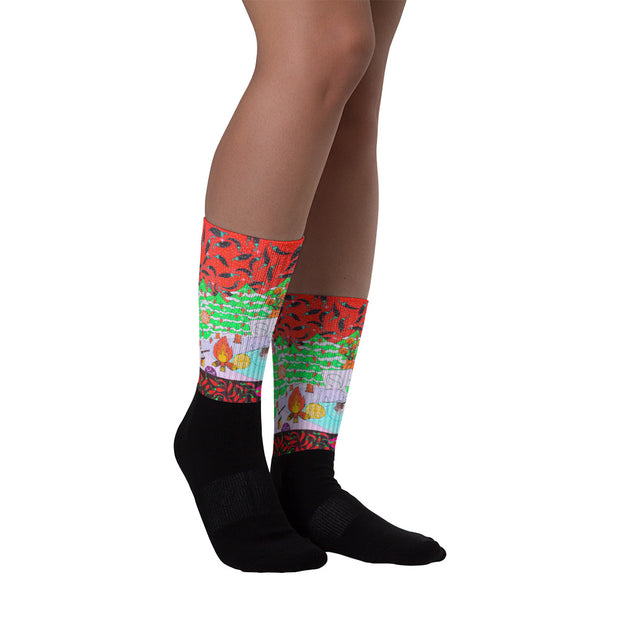 Colorful bold socks - vivid and colorful summer clothes by Somejam - Black is beautiful - Socks