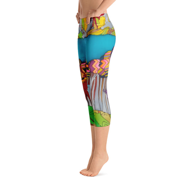 Vivid and bold leggings - colorful and striking summer clothes by Somejam - My chair is beyond the margins - Capri Legging