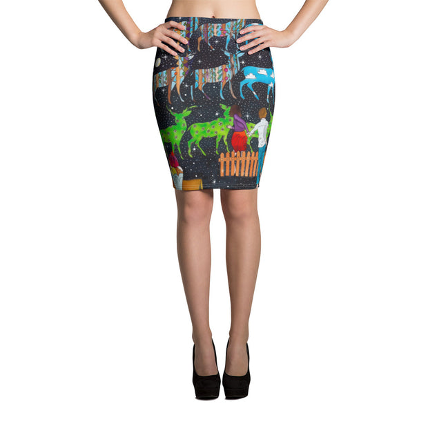 Colorful unique pencil skirt - vivid and garish summer clothes by Somejam - What will be about the fence? - Pencil Skirt