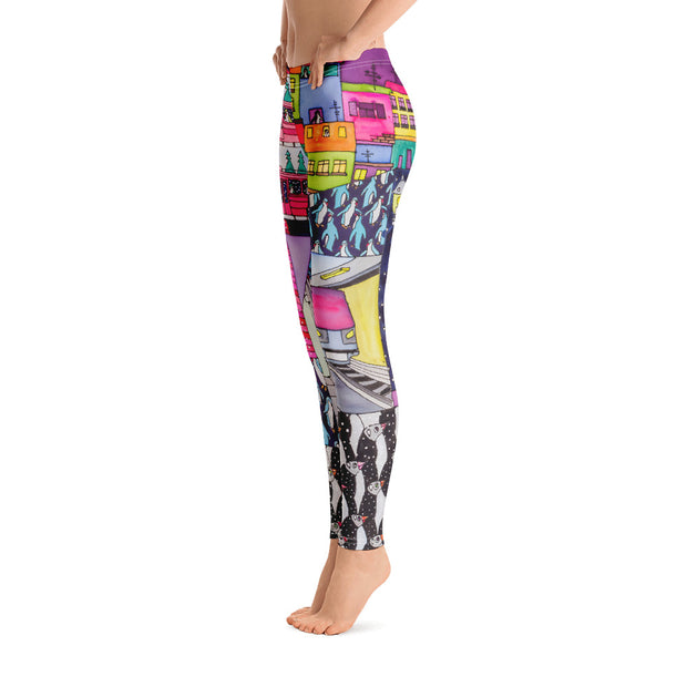 Bold and vivid leggings - colorful and garish yoga pants by Somejam - Alone with myself - Basic Legging