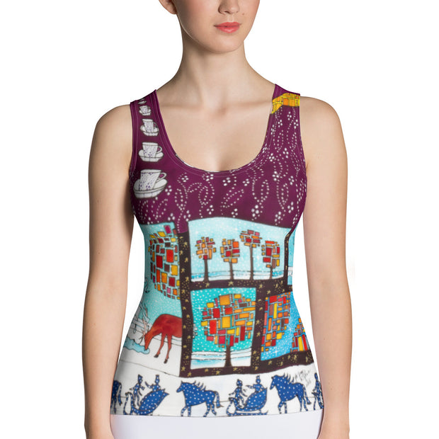 Bold and colorful tank top - striking and garish women shirts by Somejam - Bar for those who drink empty cups - Tank Top