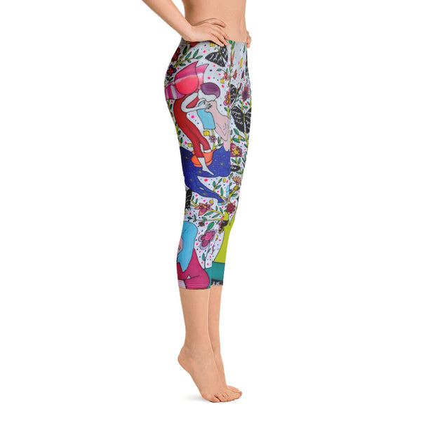 Vivid and bold leggings - colorful and striking summer clothes by Somejam - I had to wait for my rider - Capri Legging