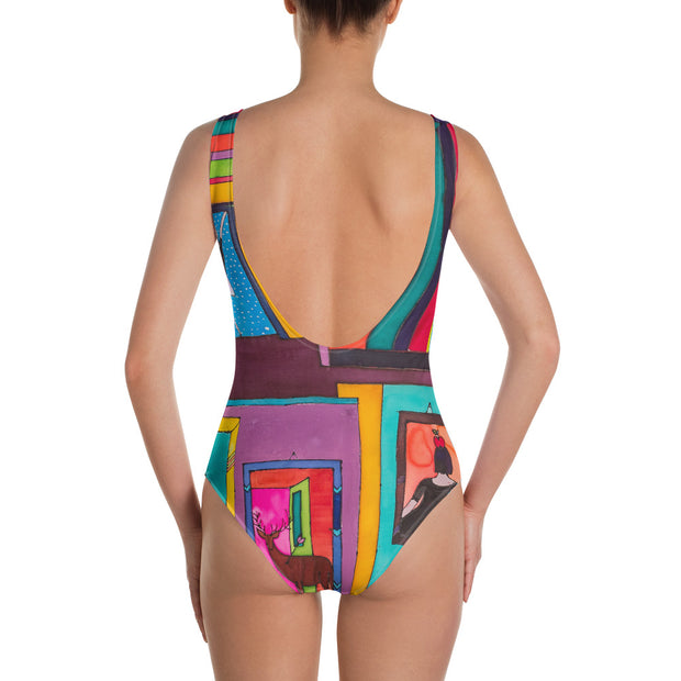 Vivid one-piece swimsuit - colorful and unique beachwear by Somejam - Hope dies last - Swimsuit