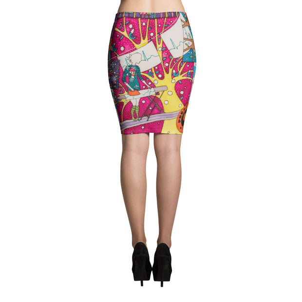 Colorful unique pencil skirt - vivid and garish summer clothes by Somejam - Press the button to cancel - Pencil Skirt