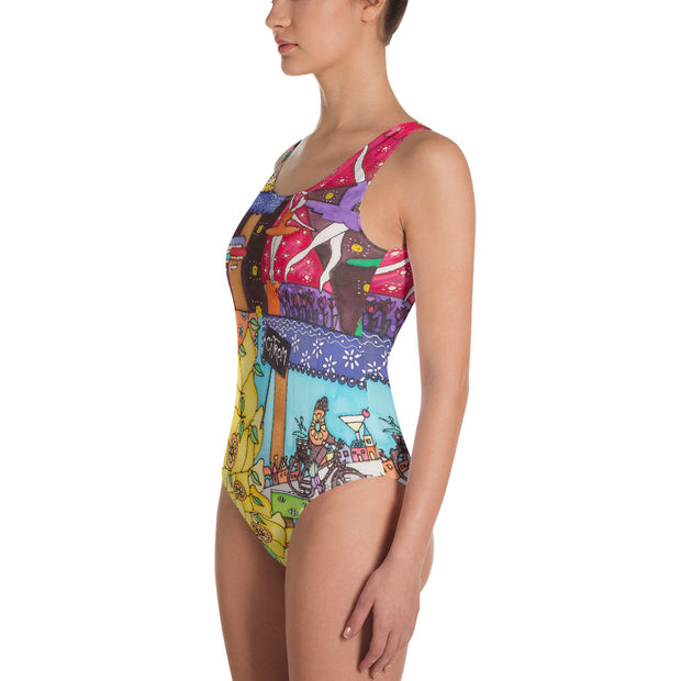 Vivid one-piece swimsuit - colorful and unique beachwear by Somejam - How did this dance get into my pantry? - Swimsuit