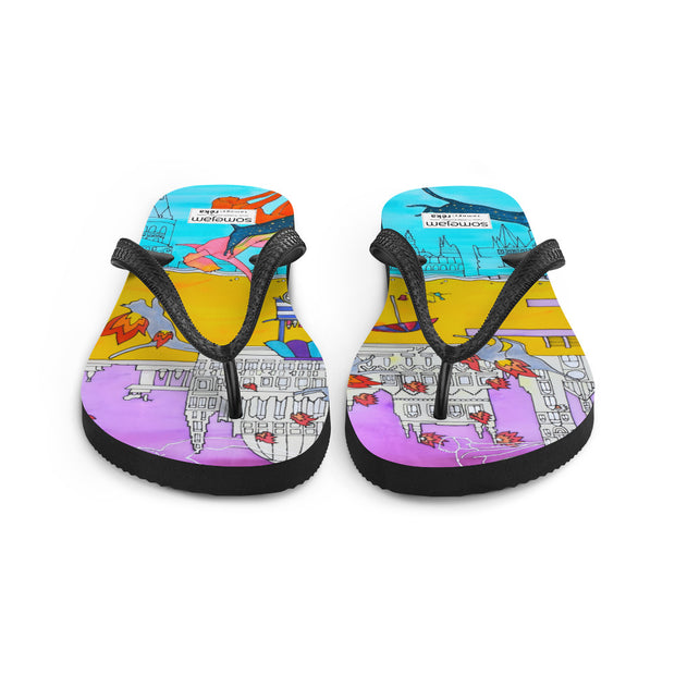 Colorful unique flip-flops - vivid and bold beachwear by Somejam - I don't stop for an ice cream if the house on fire - Flip-Flops