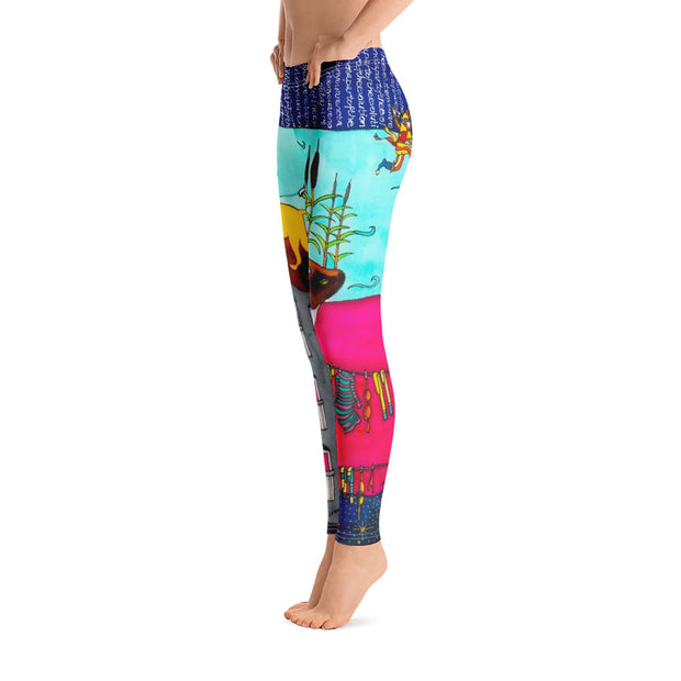 Bold and vivid leggings - colorful and garish yoga pants by Somejam - Make the Fool jump instead of me - Basic Legging